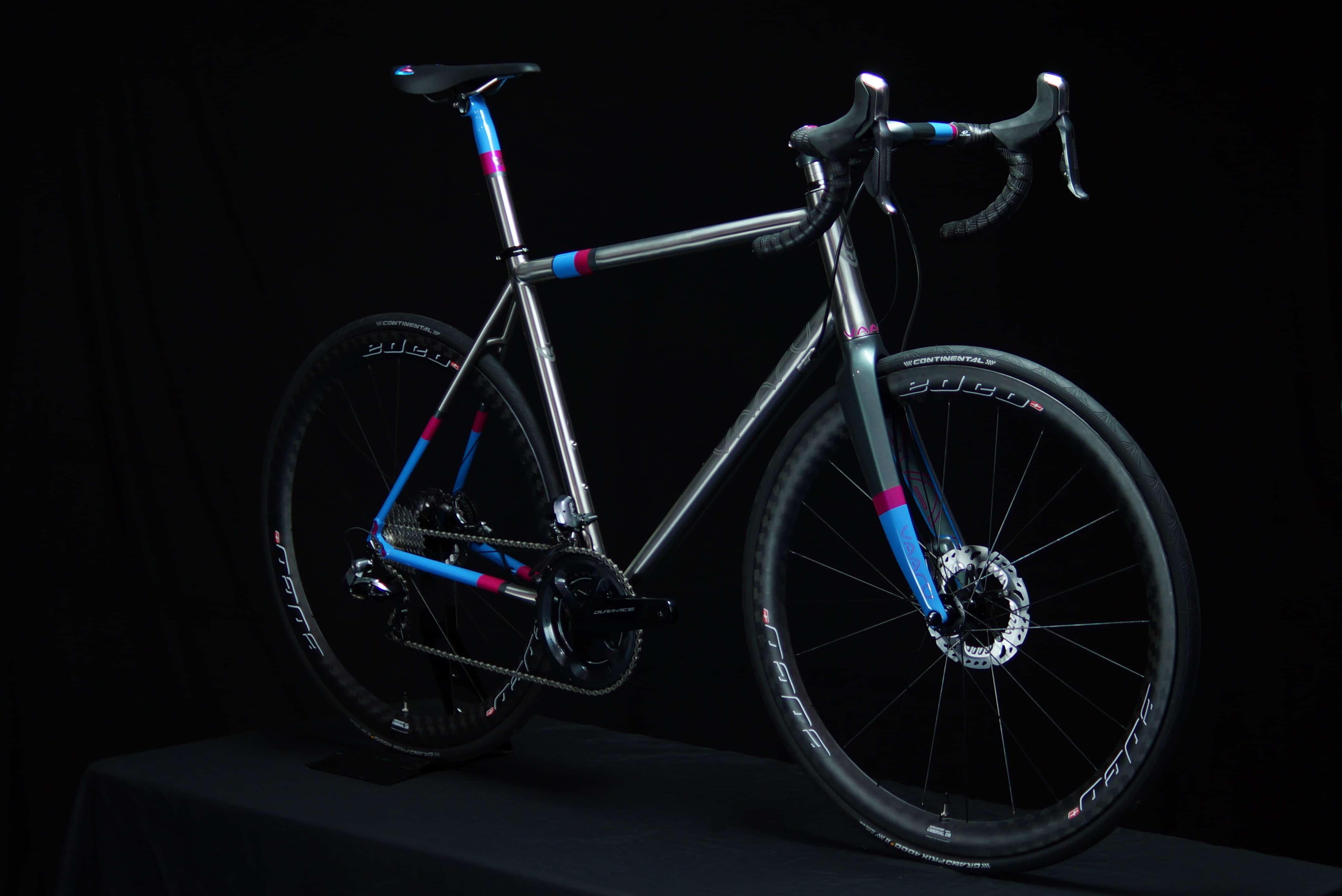 Custom painted V:8 titanium road bike